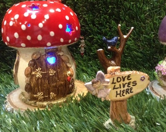 Fairy House Mushroom Ceramic Fairy Home   Hand Built OOAK Glazed  Gnome garden decor  remote control  LED battery operated tea light incl