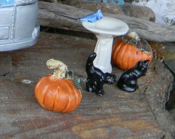 2 Pumpkin    ceramic miniature terrarium Glazed pottery fall .......Pick your own from the patch