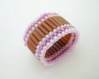 Seed Bead Ring /Peyote Ring / Beaded Ring in Topaz, Lilac and Magenta / Bugle Beads Ring / Beadwoven Ring / Size 5, 6, 7, 8, 9, 11, 12, 13