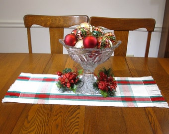 """29"""" Christmas Plaid Table Runner Handwoven Table Runner Christmas 29"""" Woven Table Runner Coffee Table Mat Red, White and Green Table Topper"""