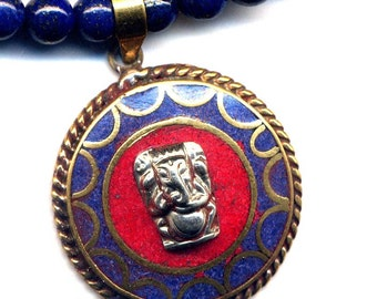 Ganesha Pendant Necklace, Tibet Lapis Lazuli Necklace, Coral Ganesha Ethnic Necklace, Lapis Buddhist Necklace, Nepal Jewelry by AnnaArt72