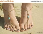 CLEARANCE SALE Barefoot Sandals Footless Sandals Anklet Toe Ring Foot Jewelry Yoga Boho Bohemian Gypsy Turquoise SandaraBSTQ