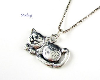 Sterling Cat Pendant Box Chain Italy
