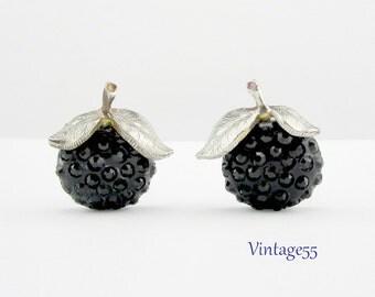 Earrings Black Forbidden Fruit Rhinestone