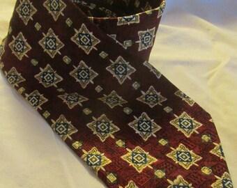 Vintage Geoffrey Beene Tie Vintage Silk Tie Jacquard Silk Tie Burgundy Navy Cream Compass Rose Necktie Wide Width Menswear 1970s 70s