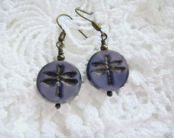 Czech Picasso Earrings, Purple Dragonfly Earrings, , Dragonfly Earrings, Czech Beads,