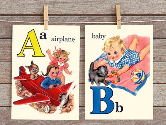 A Is For Airplane Abc Alphabet Vintage Style Flash Cards