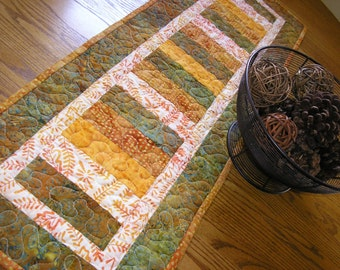 Quilted Table Runner, Fall Batiks Stacked Coins Runner, 13 x 39 inches