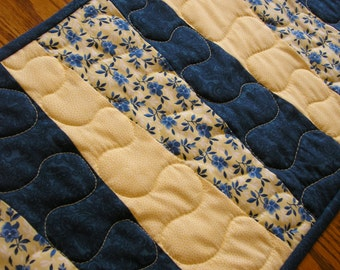 Quilted Table Runner, Blues and Yellow Prints,  12 1/2 x 41 inches