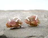 FALL SALE Raw Bi Color Tourmaline Earrings - Sterling Silver Earrings - Pink & Green Tourmaline - Pierced Earrings - October Birthstone - Ra