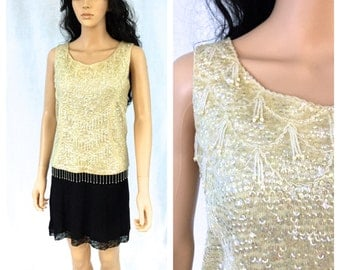 Vintage Off White Beaded Blouse. Ivory. Fancy. Iridescent Sequins. Medium. Pearls. Formal Wear. Evening. Wedding. 1960s. Sleeveless Top.