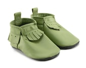 Leather Baby Soft Sole Moccasins, Lime