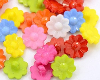Flower Buttons - 15mm - Set of 50 - Mixed colors - #BUTTON268