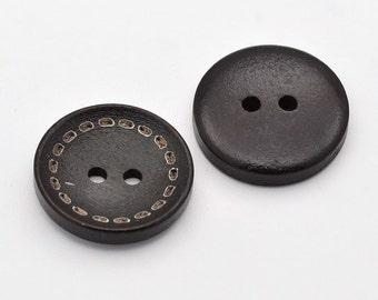 Decorative Dark Brown Wood Button - 24mm - set of 12 - #BUTTON277
