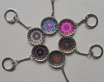 Mandala Bottlecap Keychain Set (6 keychains)