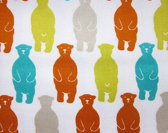 Japanese Fabric - Animal Print Fabric - Bear Fabric in Citrus Tones - Fat Quarter - Sevenberry LIMITED YARDAGE