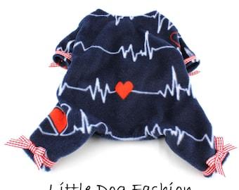 Heartbeat Dog Fleece Pajamas