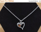 "On Sale Pretty Vintage Yellow Topaz Crystal Heart Pendant Necklace, Adjustable, November Birthstone, 16""-19"" (AH17)"