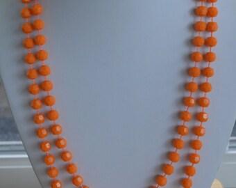 "Pretty Vintage 7mm Orange Plastic Beaded Necklace, 50"" (U6)"
