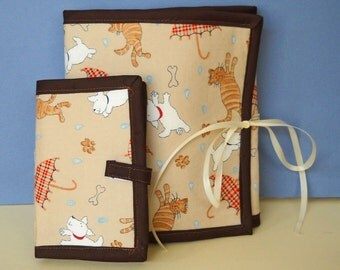 Raining Cats and Dogs Sewing Caddy, Needle Book, Hand Sewing Organizers