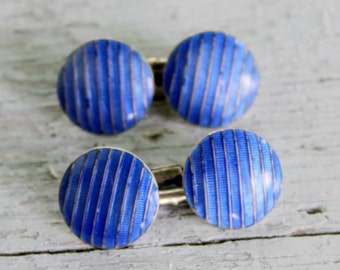 Tiffany & Co Antique Cufflinks Blue Enamel Guilloche STERLING Silver