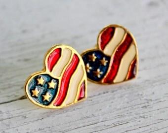 AVON Patriotic Heart Earrings American Flag
