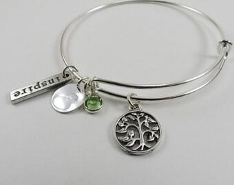 Tree of Life Bangle,Adjustable Bangle, Silver Charm Bracelet, Family Tree Bangle, Sacred Tree, Sentimental Bangle, Mom Bracelet,Personalized