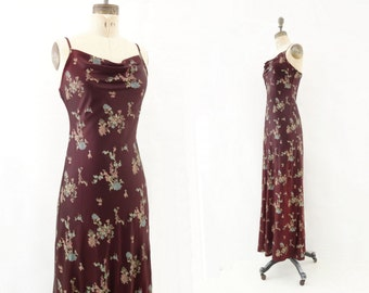 Vintage Maxi Dress 90s Bias Slip Dress Maxi Floral Dress Asian Floral Dress 1990s Vintage Dress Boho Maxi Dress 90s Party Dress xs to s