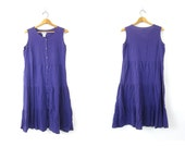 Vintage 90s Tiered Purple Dress Festival Midi Dress Cotton Crinkle Button Front  Sundress Boho Chic Women's Midi Beach Dress size Large
