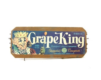 vintage Grape King Grapes Advertising old primitive wooden crate panel wall hanging Wood Crate End Paper Ephemera Kitchen Decor
