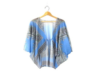 1970s Sheer blue Pailsey Bolero shawl cape shirt Dress Up Top Open Shirt Cropped Blouse See Through beach cover up Cape Top Women's Large XL