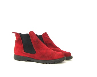Vintage red suede leather pull on ankle boots Nubuck Ankle Boots Elastic Sides Women's Hipster Shoes Size 10 Dell's