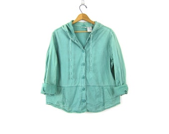 90s green jacket Hooded Coat slouchy minimal Cotton coat Button up jacket Preppy hipster women's Size Large
