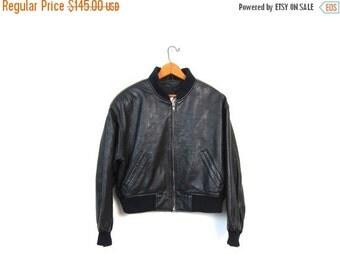 Black Leather Cropped Coat 80s Slouchy Motorcycle Jacket Boho Punk Womens Baseball Slouch Biker Motor Zip Up 1980s Coat Vintage Medium