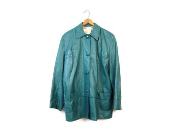 Teal Green Leather Jacket Long Leather Coat 70s Vintage Hipster Mod Slouchy Jacket Leather Trench Urban Wear Women's Size Medium Large