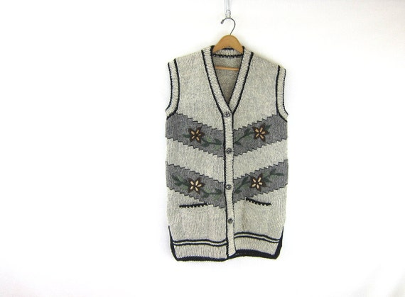 Long gray Sleeveless Sweater Vest Hand knit wool Sweater Floral Embroidery with Pockets Thick Chunky Sweater Long Vest cardigan Large XL