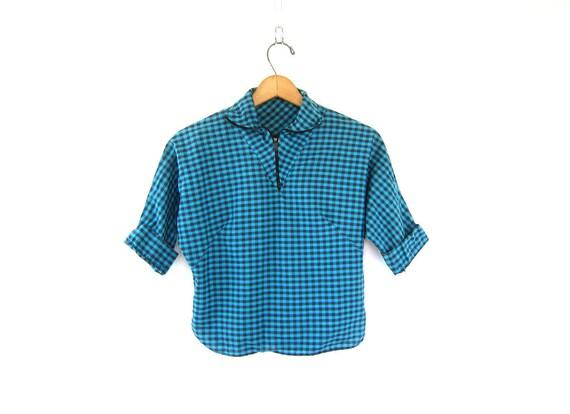 Plaid 1950s Crop Top Printed Short Sleeve Shirt High Zipper Collar Blouse Retro Cropped Tshirt MOD blue black size Small Louannes Vintage