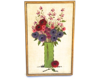 Vintage embroidered Floral wall hanging~ Colorful vase of Flowers~ Hand sewn 60's fiber art piece