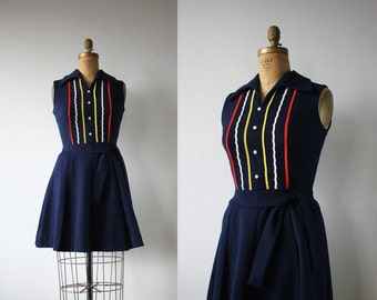 vintage 1960s dress / 60s navy blue scooter dress / 60s mini dress / primary colors dress / peggy dress / size m med medium