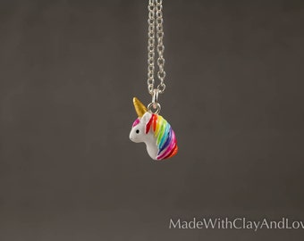 Little Unicorn Necklace - Miniature Micro Polymer Clay Animal Head Jewelry - Hand Sculpted