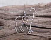 Llama Necklace, Silver, Wire Jewelry