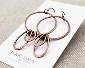 Large Hoop and Petal Earrings, Copper or Brass