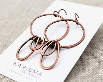 Large Hoop and Petal Earrings, Copper or Brass