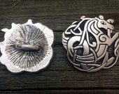 Celtic Seahorse Pewter Buttons | Celtic Buttons | Medieval Button | Metal Shank Button | 1 Inch (25 mm) | by Treasure Cast Pewter