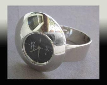 Space TIME-Marcel Boucher Space Age 17 Jewel Wind Up Modernist Bracelet Watch,Works Well,Vintage Watch/Jewelry,Women