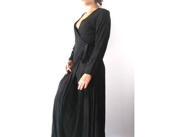 Vintage CP Shades Black Wrap Dress from BASIA DESIGNS Collection - Free U.S. Shipping