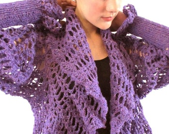BASIA DESIGNS Purple or Black and Olive Renn Hand Crochet Lace Sweater Jacket
