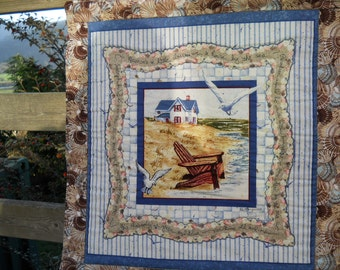Beach House Quilted Wall Hanging Beach House Wall Decor Seaside Mini Quilt  Made in USA