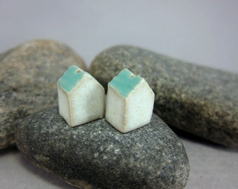 Minimalist House Beads...Turquoise Green Roof...Porcelain House Beads...Set of 2