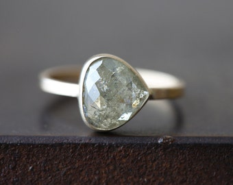 Custom Natural Rose Cut Golden-Green Diamond Ring